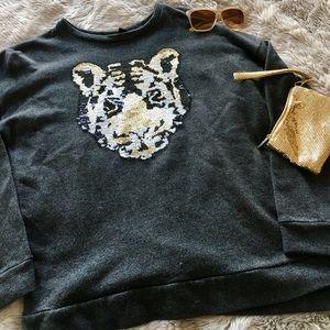 Sequined Tiger Sweatshirt Forever 21